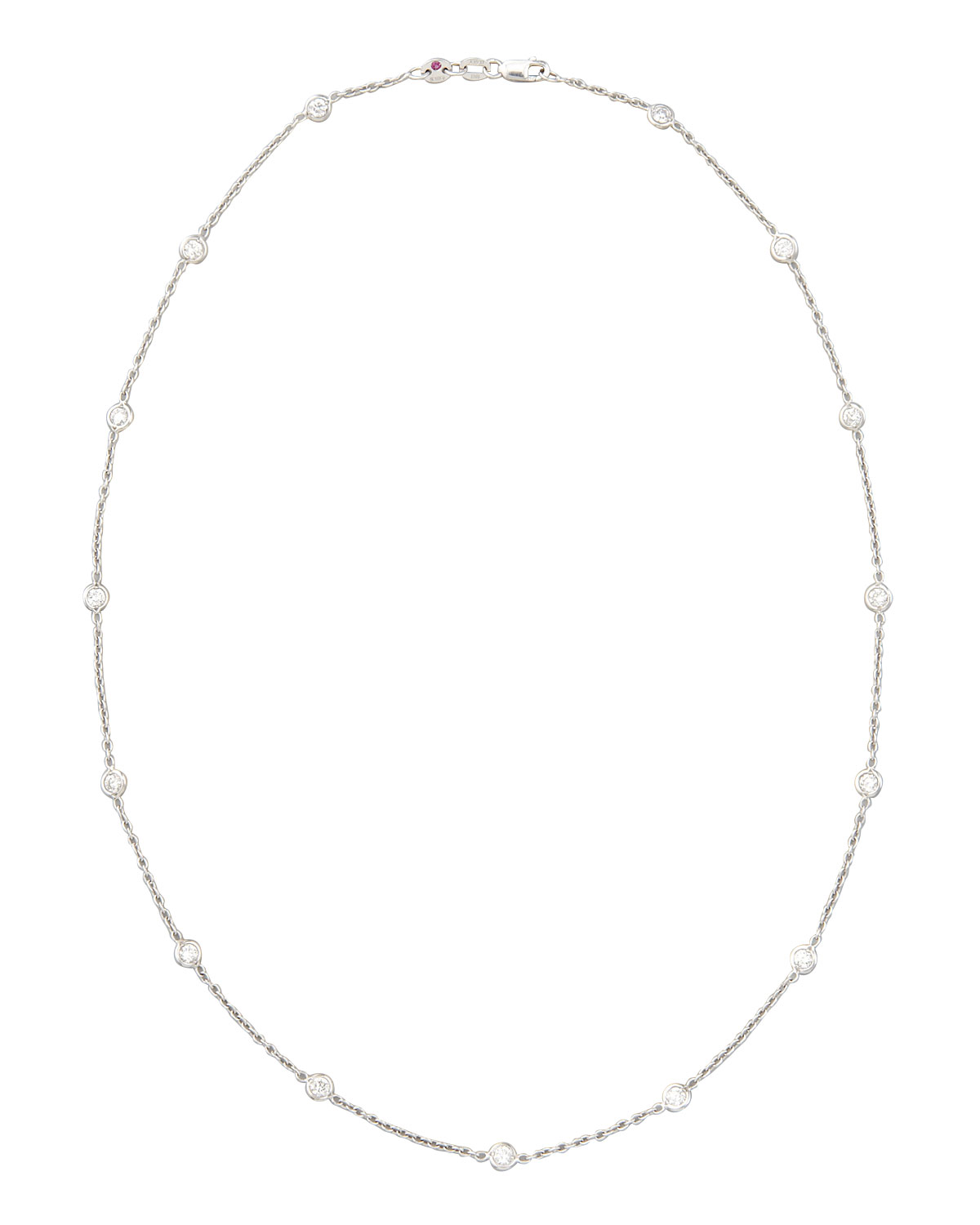 """18"""" White Gold Diamond Station Necklace, 1.48ct"""