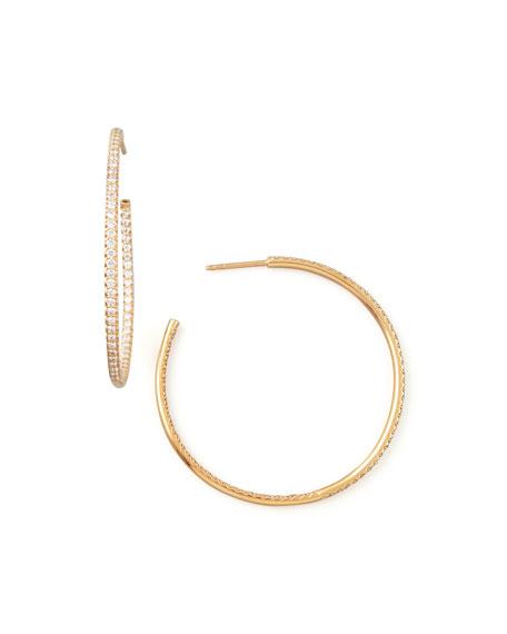 Roberto Coin 45mm Rose Gold Diamond Hoop Earrings, 1.4ct