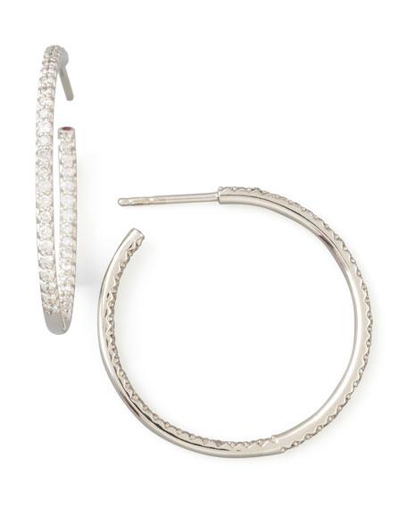 30mm White Gold Diamond Hoop Earrings, 0.98ct