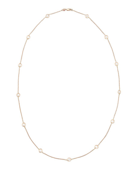 "24"" Rose Gold Diamond Station Necklace, 2.6ct"