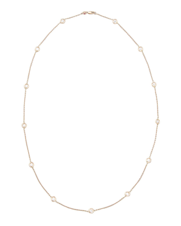 "24"" Rose Gold Diamond Station Necklace, 2.6ct"
