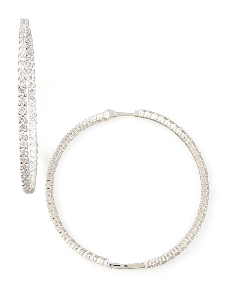 59mm White Gold Diamond Hoop Earrings, 7.55ct