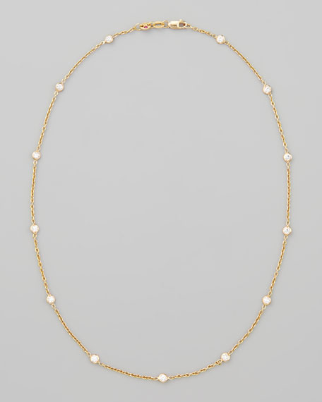 "16"" Rose Gold Diamond Station Necklace, 0.97ct"