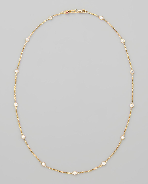 "16"" Rose Gold Diamond Station Necklace, 0.97ct"