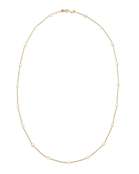 "21"" Yellow Gold 19-Diamond Station Necklace"