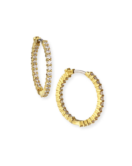 Roberto Coin 22mm Yellow Gold Diamond Hoop Earrings, 1ct