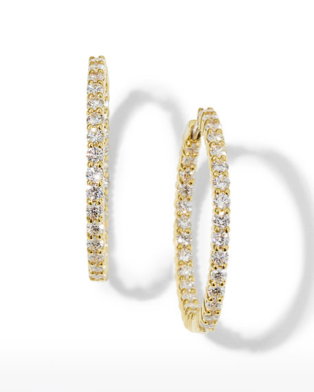 30mm Yellow Gold Diamond Hoop Earrings, 2.84ct
