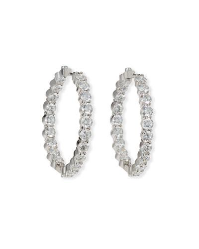 35mm White Gold Diamond Hoop Earrings  7.21ct