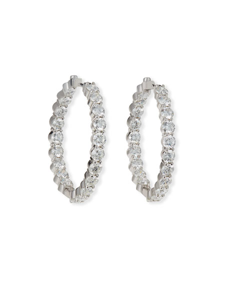 Roberto Coin 35mm White Gold Diamond Hoop Earrings,