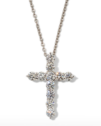 "16"" White Gold Lg Diamond Cross Pendant Necklace"