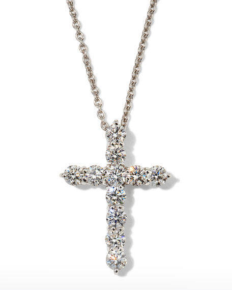 Roberto Coin 16 White Gold Med Diamond Cross Pendant Necklace zy7tn3