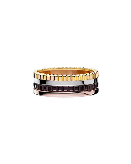 Classic Quatre 18k Four-Color Gold Small Band Ring, Size 52