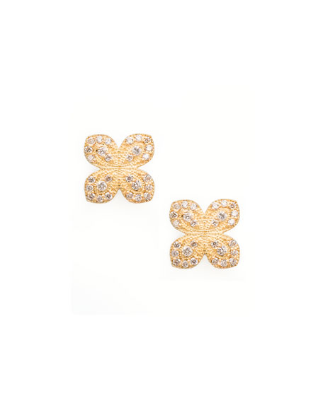 Scalloped Pave Diamond Flower Earrings, 0.31 TCW