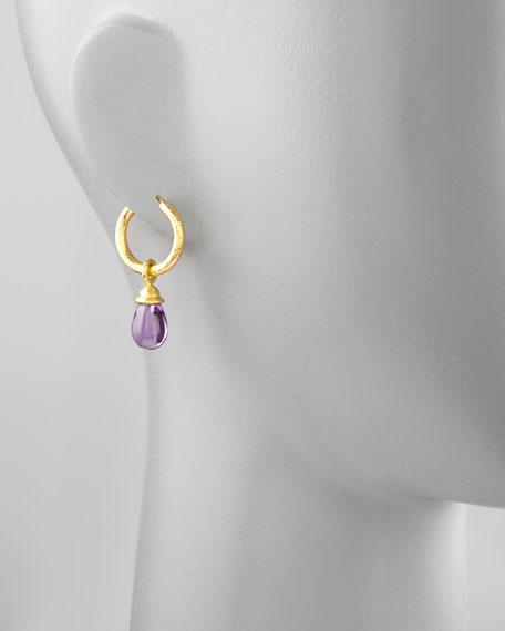 18k Gold & Amethyst Earring Pendants