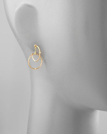 18k Yellow Gold Diamond Link Earrings, 28mm