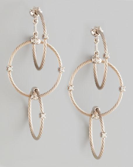 18k White Gold Diamond Link Earrings, 41mm