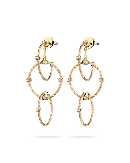 18k Yellow Gold Diamond Link Earrings, 41mm