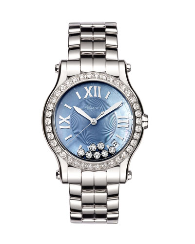 36mm Limited Edition Happy Sport Automatic Bracelet Watch with Diamonds