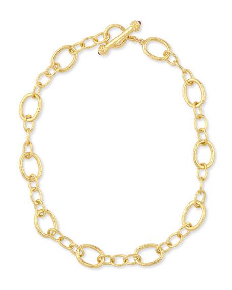 """Elizabeth Locke Hammered 19k Garda Link Necklace, 17""""L"""