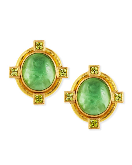 Cab Boy & Bird Intaglio Clip/Post Earrings, Green