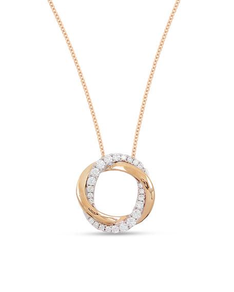 18k Pink & White Mini Halo Diamond Pendant Necklace