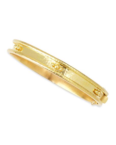 19k Gold Flat Thin Bangle with Granulation