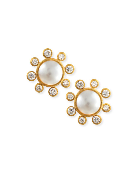 Akoya Pearl & Diamond Stud Earrings