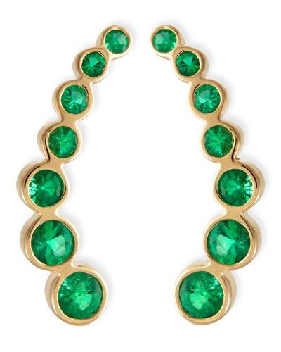 18k Yellow Gold & Emerald Climber Earrings