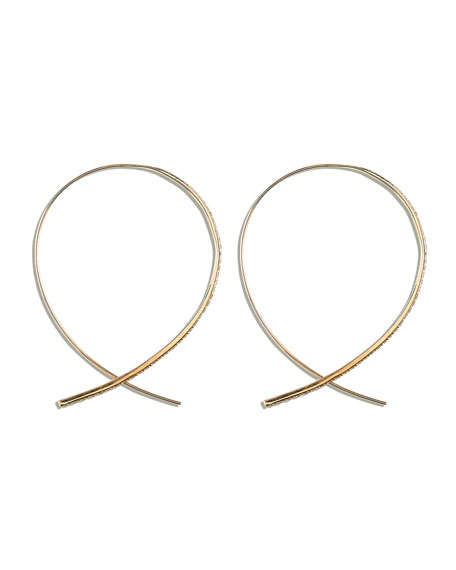 Fatale Large Upside Down Hoops with Diamonds