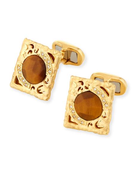 Marco Dal Maso Tiger Eye & Diamond Cufflinks in 18K Gold