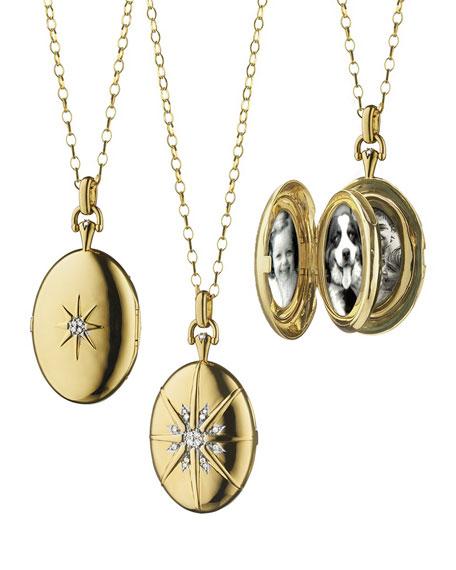 18k Gold Diamond Star Locket Necklace
