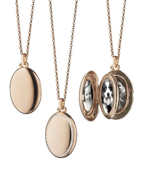 Monica Rich Kosann 18k Rose Gold Diamond Locket Necklace Neiman