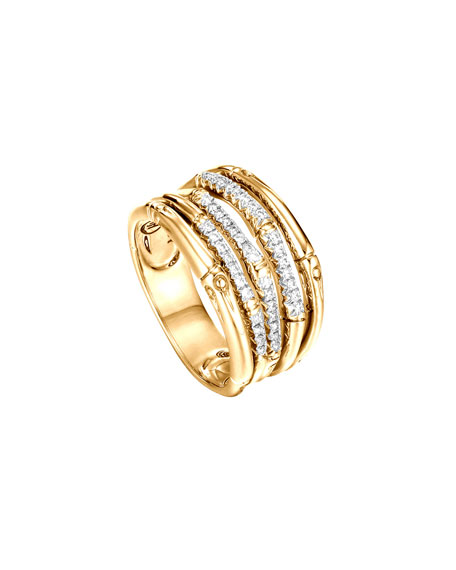 John Hardy Bamboo 18k Gold & Diamond Band