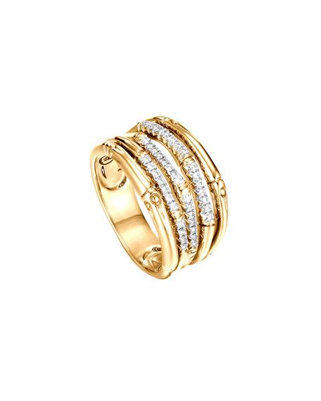 Bamboo 18k Gold & Diamond Band Ring