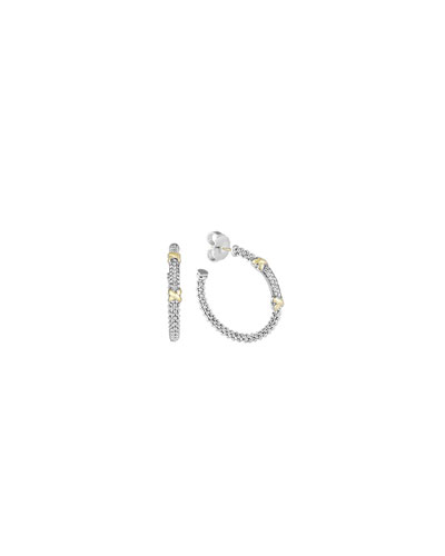 Sterling Silver & 18k Gold Diamond Caviar Hoop Earrings