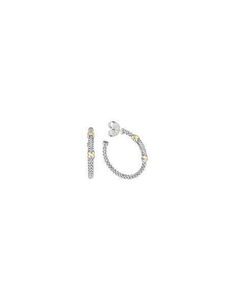 Sterling Silver & 18k Gold Diamond Caviar Hoop Earrings