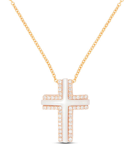 Frederic Sage Small 18k Rose Gold Cross Necklace With