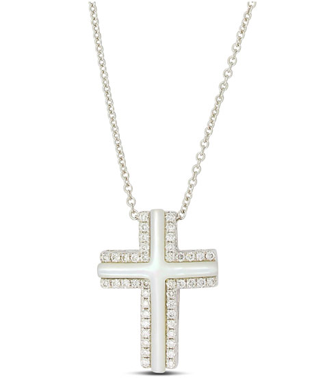 Small 18k White Gold Cross Necklace with Mother-of-Pearl & Diamonds
