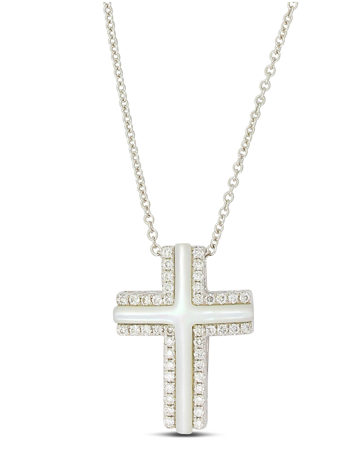 Frederic sage small 18k white gold cross necklace with mother of small 18k white gold cross necklace with mother of pearl diamonds aloadofball Gallery