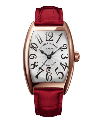 Ladies 18k Rose Gold Automatic Curvex Watch with Alligator Strap