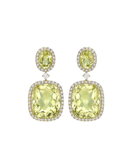 Signature Lemon Quartz & Diamond Drop Earrings