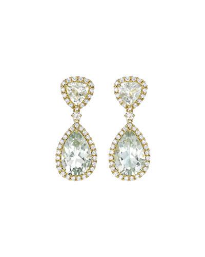 Signature Green Amethyst & Diamond Drop Earrings