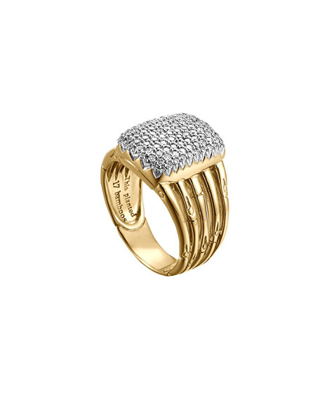 John Hardy Bamboo 18k Diamond Five-Row Ring, Size