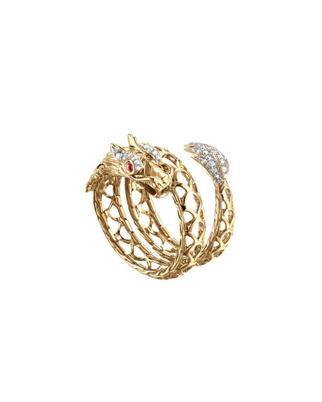 John Hardy Naga 18k Dragon Coil Ring &
