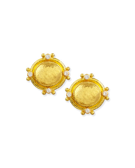 19k Gold Dome Earrings with Diamonds