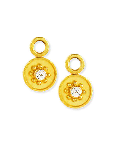 Elizabeth Locke 19k Gold Daisy Diamond Earring Pendants
