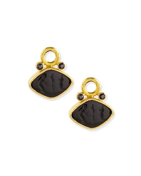 Rombo Intaglio Earring Pendants, Black