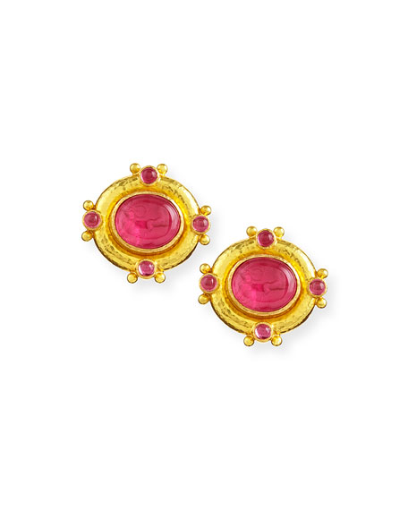 Quadriga Intaglio Clip/Post Earrings, Pink