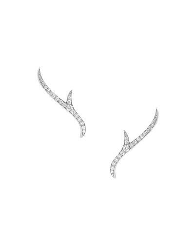 Thorn 18k White Gold Diamond Stud Earrings