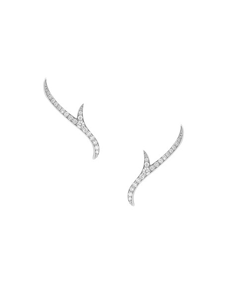 Thorn 18k White Gold Diamond Stud Earrings